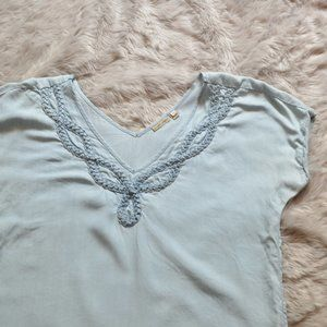 Holding Horses Braided Chambray Top Sz M